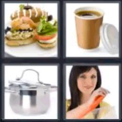 4 fotos 1 palabra café cacerola