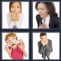 4 fotos 1 palabra mujer asustada
