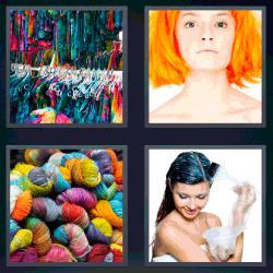 4 fotos 1 palabra lana de colores