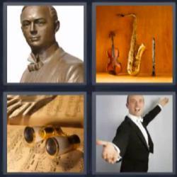 4 fotos 1 palabra violín saxofón estatua