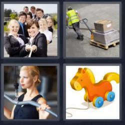 4 fotos 1 palabra caballito cuerda