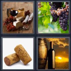 4 fotos 1 palabra vino uvas barril