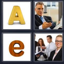4 fotos 1 palabra letras A y e