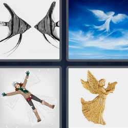 4 fotos 1 palabra peces ángel