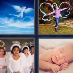 4 fotos 1 palabra ángel bebé durmiendo