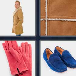 4 fotos 1 palabra guantes rojos zapatos azules mujer con abrigo