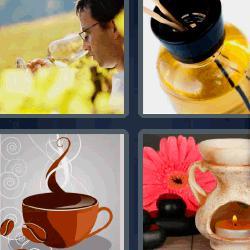 4 fotos 1 palabra taza de café vela