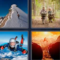 4 fotos 1 palabra exploradores cima nevada