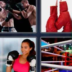 4 fotos 1 palabra guantes de boxeo