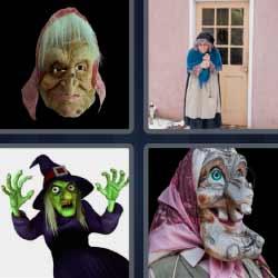 4 fotos 1 palabra bruja anciana