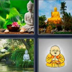 4 fotos 1 palabra estatua de buda, estatua dorada