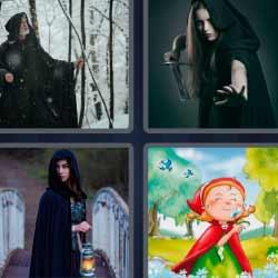4 fotos 1 palabra caperucita roja, niña de negro con lámpara