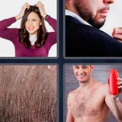 4 fotos 1 palabra mujer rascándose cabeza