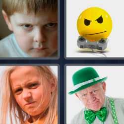 4 fotos 1 palabra niño con frente arrugada sombrero verde