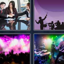 4 fotos 1 palabra concierto reunión de trabajo