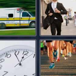 4 fotos 1 palabra ambulancia reloj corriendo