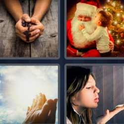 4 fotos 1 palabra Papá Noel