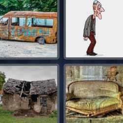 4 fotos 1 palabra sofá sucio casa en ruinas hombre mayor