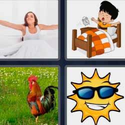 4 fotos 1 palabra mujer despertando gallo sol