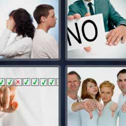 4 fotos 1 palabra pareja de espaldas palabra NO