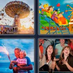 4 fotos 1 palabra feria gente riéndose montaña rusa