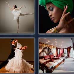 4 fotos 1 palabra bailarina de ballet clásico, vals, dormitorio