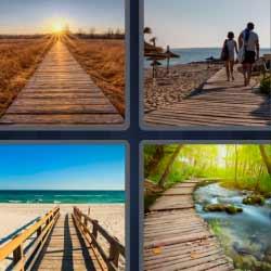 4 fotos 1 palabra camino de madera en la playa