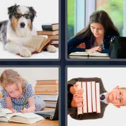 4 fotos 1 palabra perro con lentes y libros, niña escribiendo