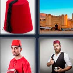 4 fotos 1 palabra sombrero rojo ciudad amurallada
