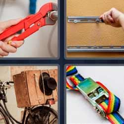 4 fotos 1 palabra llave de tuercas bicicleta cámara