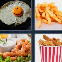 4 fotos 1 palabra papas fritas huevo