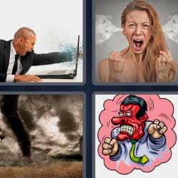 4 fotos 1 palabra tornado mujer con humo orejas