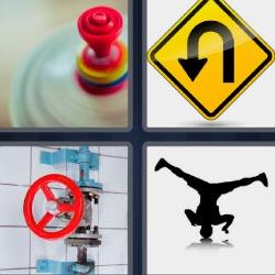 4 fotos 1 palabra señal amarilla peonza