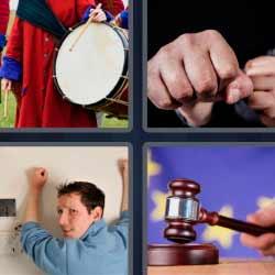 4 fotos 1 palabra tambor puño martillo de juez hombre