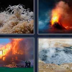 4 fotos 1 palabra volcán incendio fuego agua con vapor
