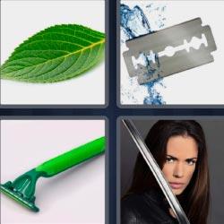 4 fotos 1 palabra hoja verde espada