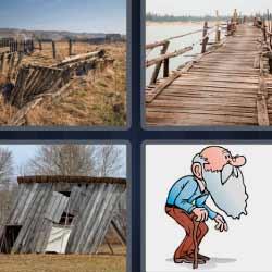 4 fotos 1 palabra camino de madera rojo, anciano con bastón