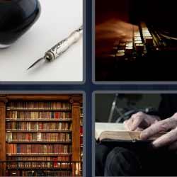 4 fotos 1 palabra biblioteca, hombre con libro pluma