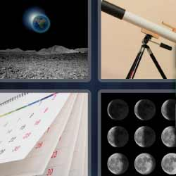 4 fotos 1 palabra lunas telescópio