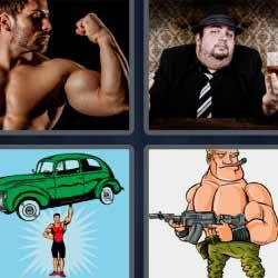 4 fotos 1 palabra hombre musculoso gánster