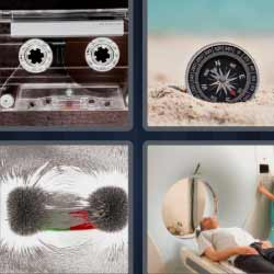 4 fotos 1 palabra brújula cinta de cassette