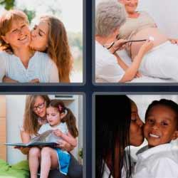 4 fotos 1 palabra madre con su hija
