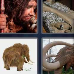 4 fotos 1 palabra mamut hombre prehistórico