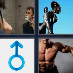 4 fotos 1 palabra hombre afeitándose, estatua, músculos