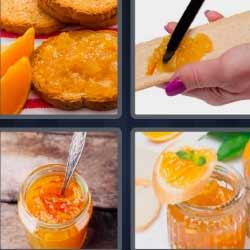 4 fotos 1 palabra mermelada de color naranja