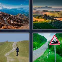 4 fotos 1 palabra camino, montaña, señal de tráfico 10%