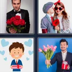 4 fotos 1 palabra hombre con ramo de flores