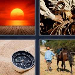 4 fotos 1 palabra sol brújula