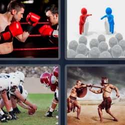 4 fotos 1 palabra boxeadores gladiadores rugby o fútbol americano