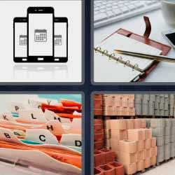 4 fotos 1 palabra agenda teléfonos móviles o celulares archivador
